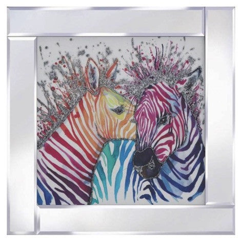 Multi Coloured Zebras Liquid Glass Wall Art With a Mirrored Frame