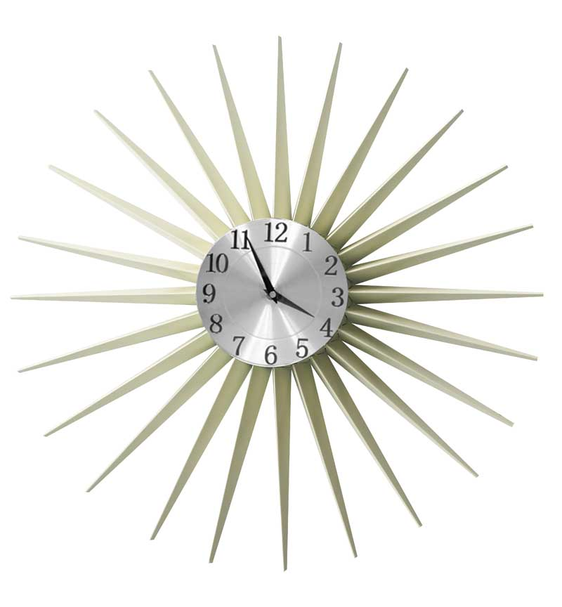 Cream Metal Sunshine Clock