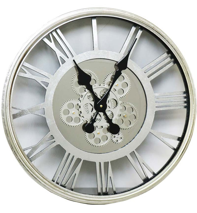 Round Roman Numeral Cog Silver Wall Clock