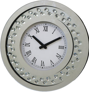 RhombusX Diamante Crystal Round Clock