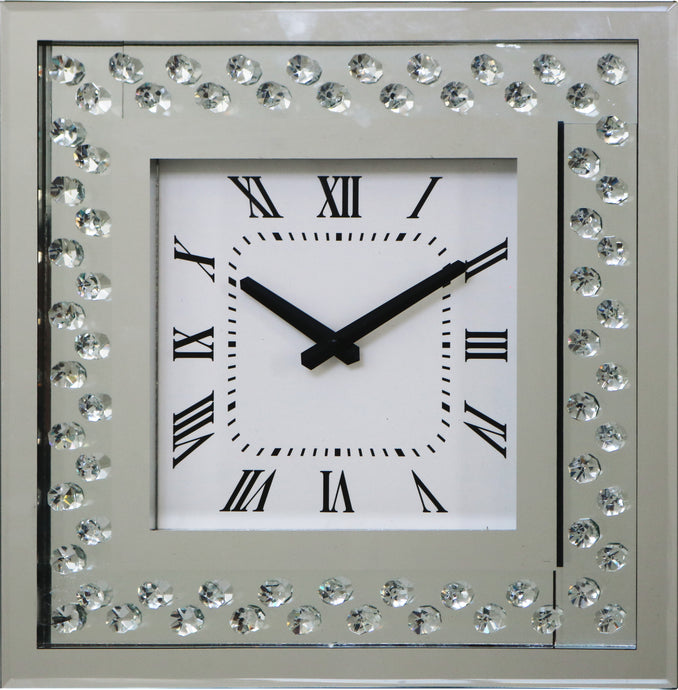 RhombusX Diamante Crystal  Square Clock