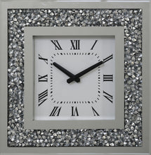 Load image into Gallery viewer, GatsbyX Crystal Square Clock with shining diamond like crystals. 35cm width x 35cm height.