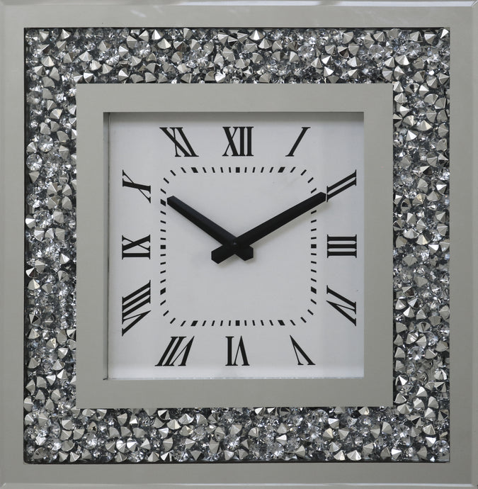 GatsbyX Crystal Square Clock with shining diamond like crystals. 35cm width x 35cm height.