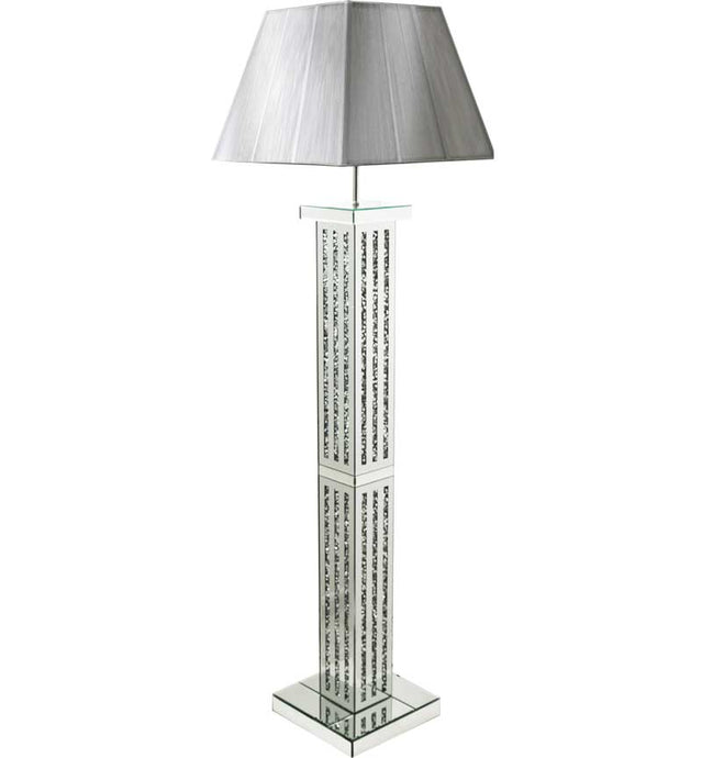 The Gatsby Crystal 3 Line Floor Lamp is made of mirrored glass and has a diamond like crystal centres. Part of the Gatsby range, this modern floor lamp is an added luxury to any home or business.