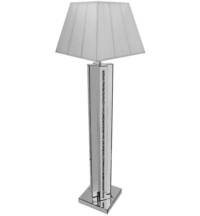 The Gatsby Crystal Cross Floor Lamp is made of mirrored glass and has a diamond like crystal centres. Part of the Gatsby range, this modern Floor lamp is an added luxury to any home or business.