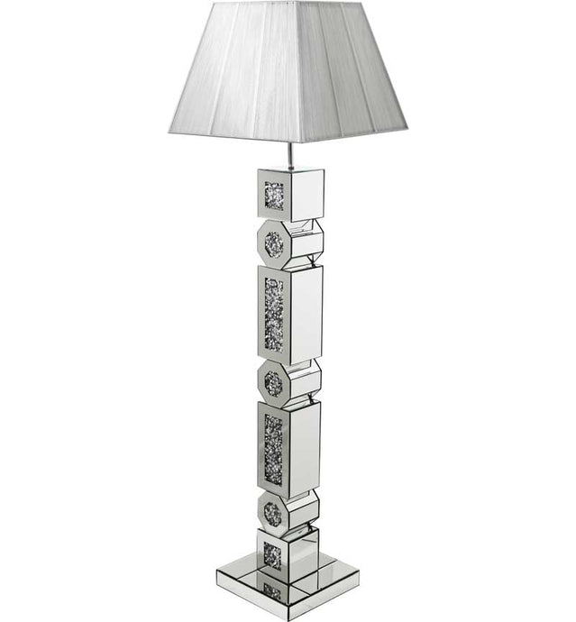 The Gatsby Crystal Octagonal Floor Lamp is made of mirrored glass and has diamond like crystal centres. Part of the Gatsby range, this modern Floor lamp is an added luxury to any home or business.