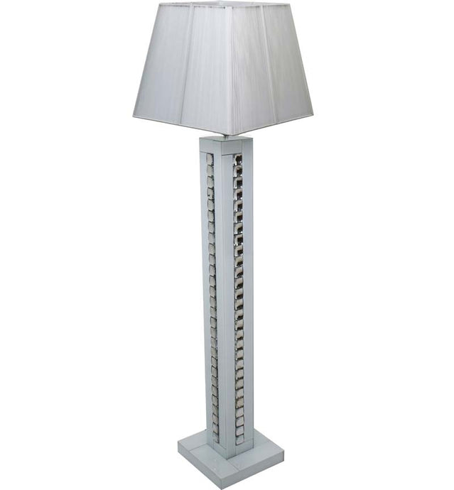 White Glass and Crystal Floor Lamp