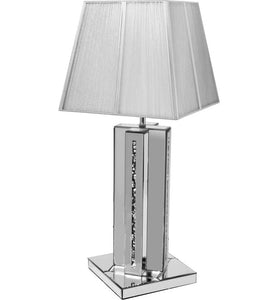 The Gatsby Crystal Cross Table Lamp is made of mirrored glass and has a diamond like crystal centres. Part of the Gatsby range, this modern table lamp is an added luxury to any home or business.