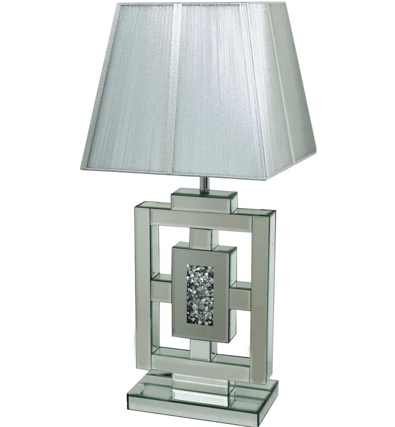 The Gatsby Crystal Retro Table Lamp is made of mirrored glass and has diamond like crystal centres. Part of the Gatsby range, this modern table lamp is an added luxury to any home or business.