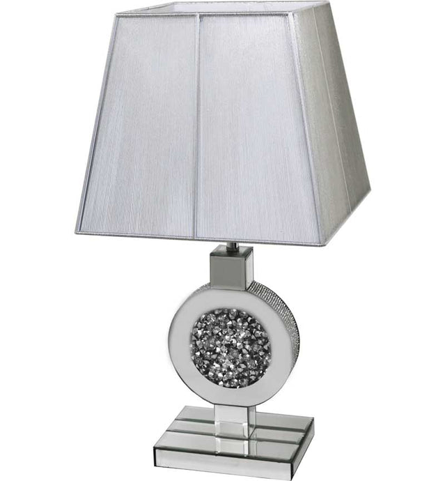 The Gatsby Crystal Circle Lamp is made of mirrored glass and has a diamond like crystal centres. Part of the Gatsby range, this modern table lamp is an added luxury to any home or business.