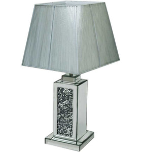 The Gatsby Crystal Square Table Lamp is made of mirrored glass and has diamond like crystal centres. Part of the Gatsby range, this modern table lamp is an added luxury to any home or business.