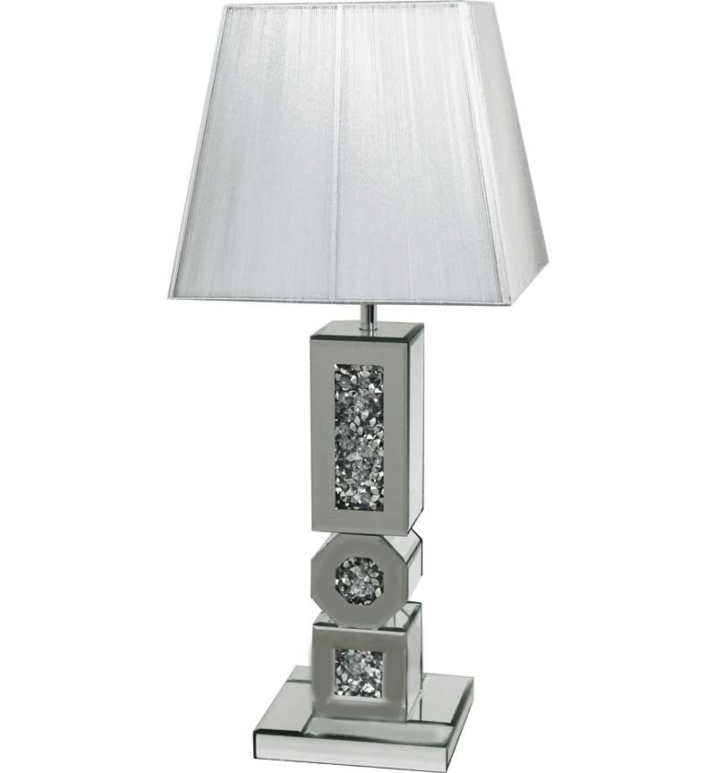 The Gatsby Crystal Octagonal Floor Lamp is made of mirrored glass and has diamond like crystal centres. Part of the Gatsby range, this modern Table lamp is an added luxury to any home or business.