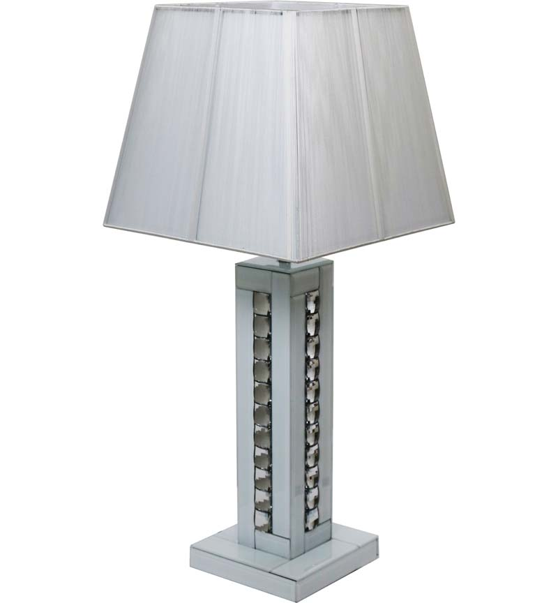 White Glass and Crystal Table Lamp