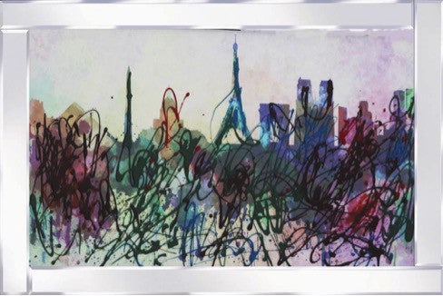 Paris Abstract Skyline Mirrored Frame Liquid Glass Wall Art