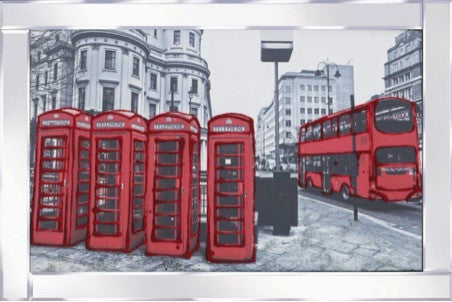 Red Bus & Telephone Boxes Liquid Glass Wall Art Picture With Mirrored Frame
