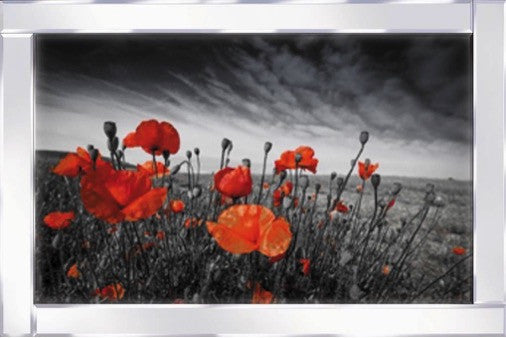 Red Flowers Mirrored Frame Liquid Glass Wall Art