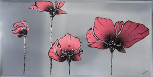 Red Poppies Liquid Glass Wall Art On A Mirror