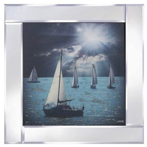 Sail Boats Liquid Glass Wall Art Picture With Mirror Frame