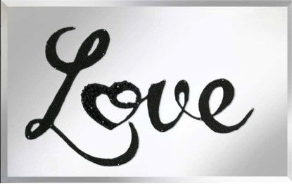 Black Glitter Love Liquid Glass Art Mirror