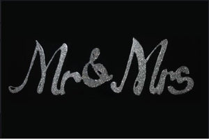 Mr & Mrs Liquid Glass Wall Art On Black Glass