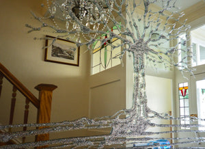 Silver Glitter Swarovski Tree Liquid Glass Wall Art On A Mirror