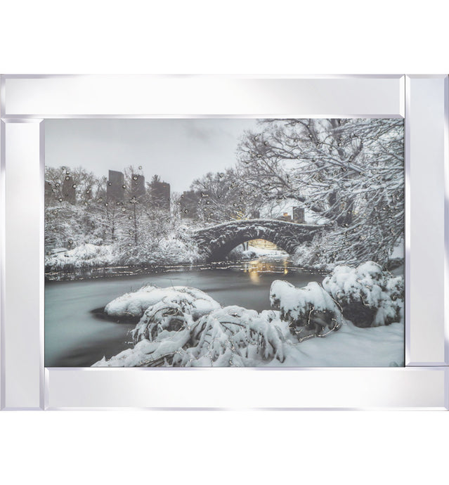Snowy Bridge On The River