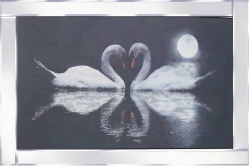 Swans By Moonlight Mirrored Frame Liquid Glass Wall Art