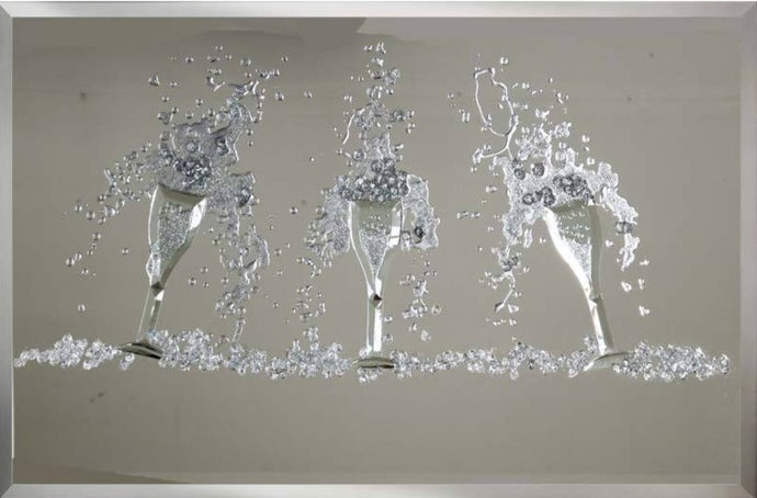 Trio of champagne flutes in crystal art mirror