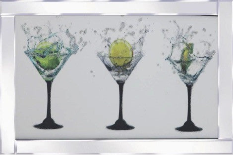 Triple Coctail Glasses Mirrored Frame Liquid Glass Wall Art