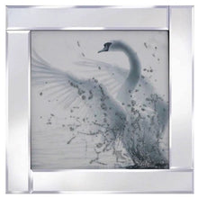Load image into Gallery viewer, White Glitter Swan Liquid Glass Wall Art Picture With Mirror Frame