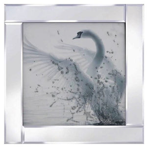 White Glitter Swan Liquid Glass Wall Art Picture With Mirror Frame