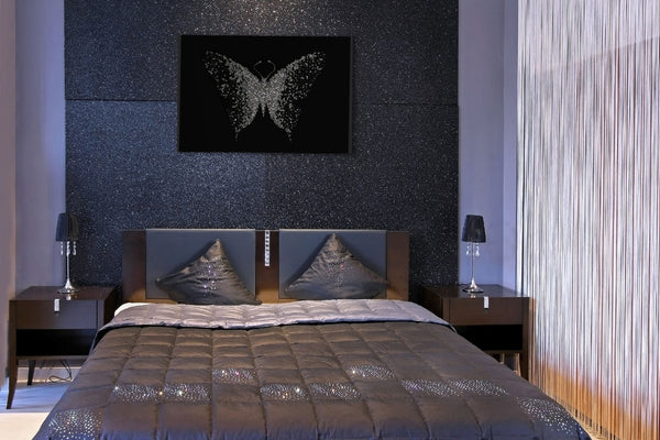 Silver Glitter Cluster Butterfly Liquid Glass Wall Art On Black Glass