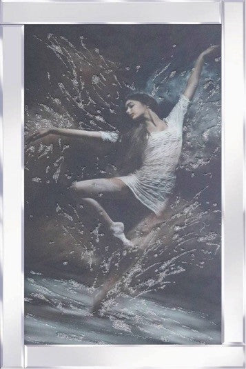 Dancing Ballerina Liquid Glass Wall Art Picture With Mirrored Frame