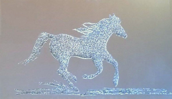 Silver Glitter Horse Liquid Glass Wall Art On A Mirror