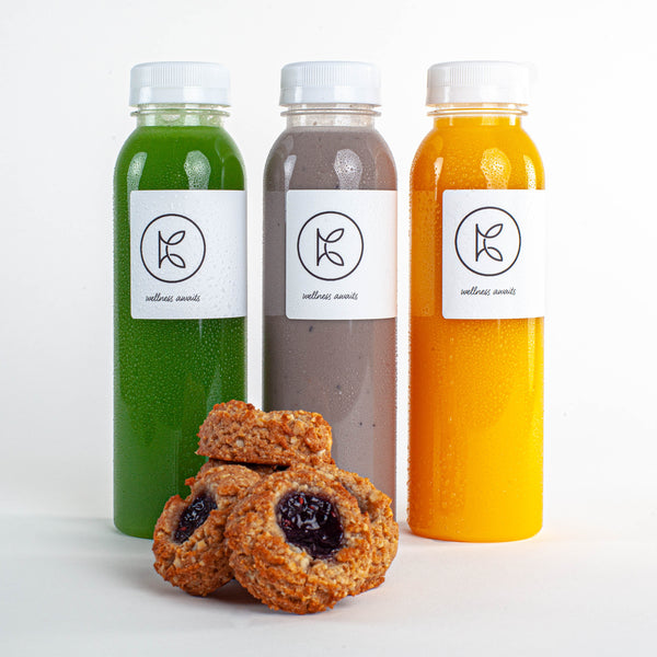 Fresh-pressed juices and gluten-free dessert Kooshi Gourmet Los Angeles Meal Delivery