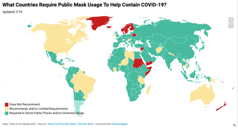 Countries where masks are mandatory