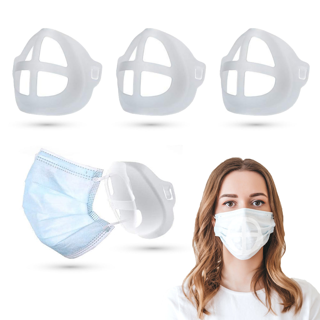(3 Pack) Silicone 3D Face Mask Bracket Insert | Plastic Mask Guard Frame for Inner Support, Breathing Space, Comfort - Washable & Reusable