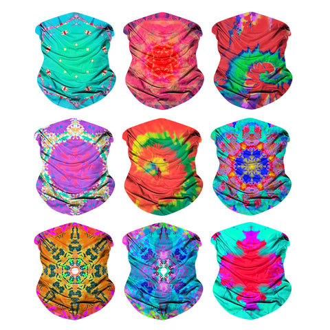 9PCS TIE-DYE - Seamless Mask Bandana Headband