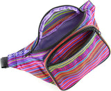 Woven Boho Festival Fanny Pack (pink) - SoJourner Bags - open