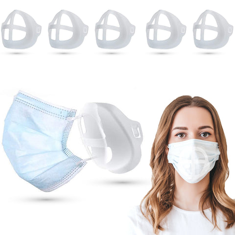 (5 Pack) Silicone 3D Face Mask Bracket Insert | Plastic Mask Guard Frame for Inner Support, Breathing Space, Comfort - Washable & Reusable
