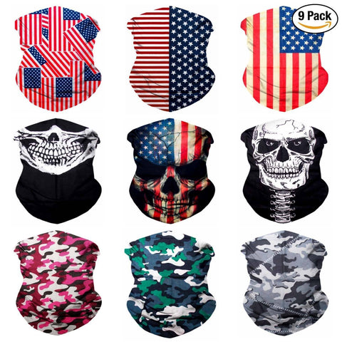 9PCS Seamless Bandanas Face Mask Headband Scarf Headwrap Neckwarmer & More – 12-in-1 Multifunctional for Music Festivals, Raves, Riding, Outdoors (Patriot 1)