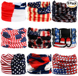 Fanny Pack 9PCS Seamless Bandanas Face Mask Headband Scarf Headwrap Neckwarmer & More – 12-in-1 Multifunctional for Music Festivals, Raves, Riding, Outdoors (USA 1) - SoJourner Bags