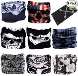 Fanny Pack 9PCS Seamless Bandanas Face Mask Headband Scarf Headwrap Neckwarmer & More – 12-in-1 Multifunctional for Music Festivals, Raves, Riding, Outdoors (Skull 1) - SoJourner Bags