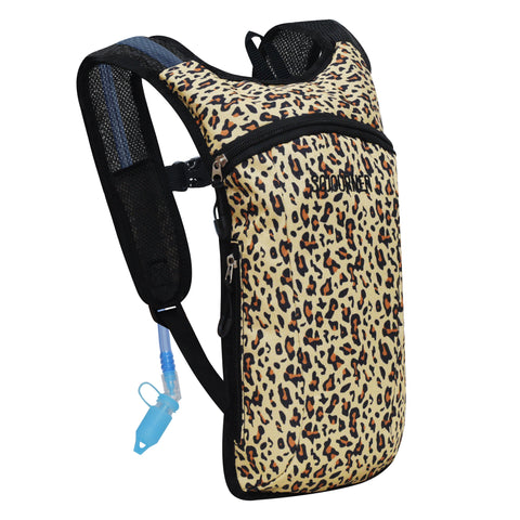 Hydration Pack Backpack - 2L Water Bladder - Cheetah