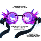 Blue Purple Steampunk Goggles Kaleidoscope Glasses - Trippy Psychedelic Rave Goggles - Funky Prism Glasses For Raves - Festival Accessories