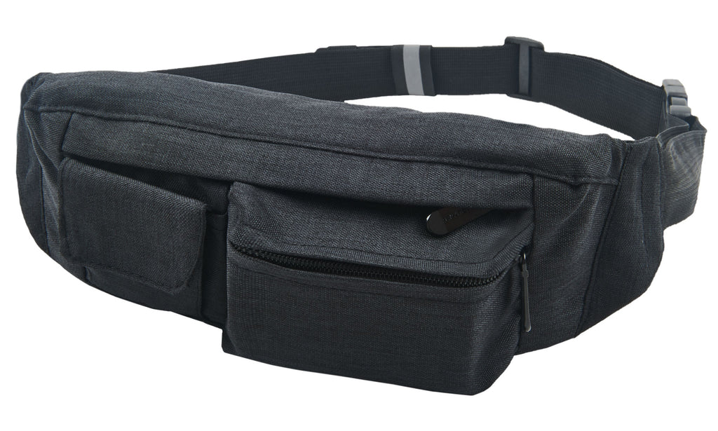 Fanny Pack Black  2-Pocket Fanny Pack Hip Bag - SoJourner Bags