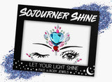 Fanny Pack Blue Heart Face Jewels Glitter Gems Rhinestones Eye Body Jewels Gems - SoJourner Bags