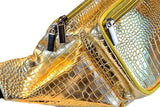 Gold Crocodile Fanny Pack - SoJourner Bags - zoom