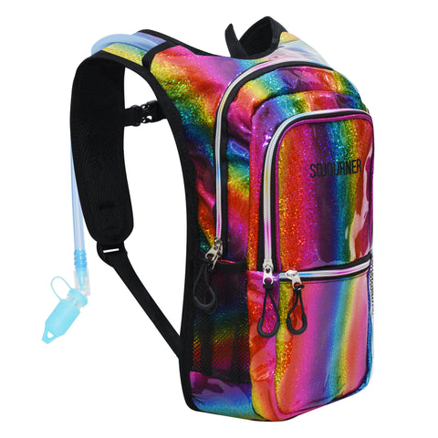 Medium Hydration Pack Backpack - 2L Water Bladder - Rainbow Multi Color