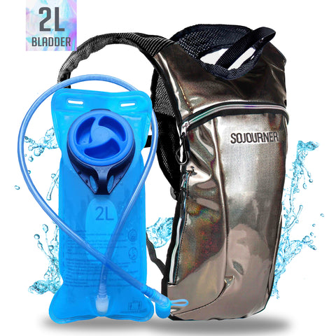 Hydration Pack Backpack - 2L Water Bladder - Glitter Copper